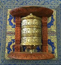 Golden Tibetan Buddhist Brass Copper PRAYER WHEEL Wall Hanging Wooden Frame