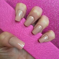 Full Cover Hand Painted False Nails. Square High Gloss Nude. 24 Nails.