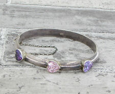 925 Silver - Vintage Antique Finish Amethyst & Topaz Bangle Bracelet 18g