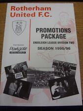 1995/1996 paquete de promoción Rotherham United:/carpeta. gracias por ver este que