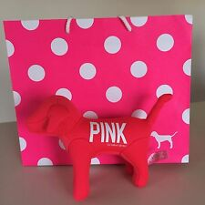 VICTORIA'S SECRET PINK - COLLECTIBLE Neon Pink & White PLUSH DOG New!!  WOW!!