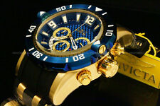 New Invicta Men's Pro Diver 50 MM Chrono 18K Gold Plated Blue Dial SS Poly Watch