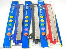 Bazic 3 Hole Paper Punch w/ Ruler School Office Work Assorted Colors NEW 3202