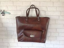 Vintage 1970's Marks and Spencer Leather Look Brown Large Shopping Laptop Bag
