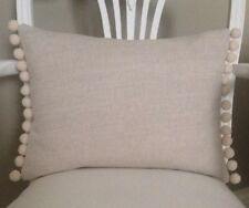 Beige French Linen Look Fabric With Pom Pom Trim Shabby Chic Cushion Cover