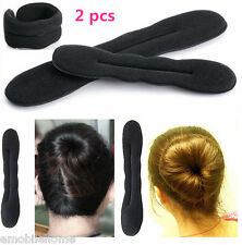 2pcs Hair Twister Styling Bun Making Tool Black Sponge Roller Hairdisk