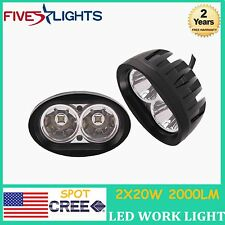 2 X 20W ROUND SPOT CREE LED WORK LIGHT TRACTOR FOG LAMP UTE ATV SUV 4WD OFFROAD