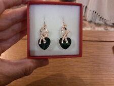 NUOVISSIMI orecchini in oro con cristallo verde smeraldo cuori e scatola regalo