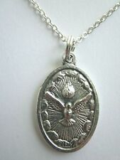 "Holy Spirit  / First Communion Chalice Medal Italy Pendant Necklace 20"" Chain"
