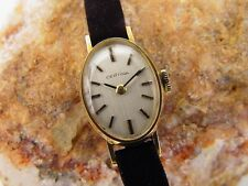 "Certina 18K Yellow Gold Women's Wrist ""Oval Shape"" Watch, Vintage Art Deco"
