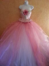 GORGEOUS BRAND NEW WHITE & PINK TULLE ORGANZA PRINCESS BRIDAL WEDDING BALL GOWN