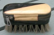 VINTAGE LEATHER CASE DECO PATTERN NAIL BRUSH/MANICURE/GROOMING SET