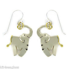 Far Fetched ELEPHANT EARRINGS Silver Brass Mima & Oly Dangle - Gift Wrap Box