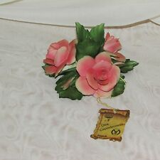 DEA CAPODIMONTE PINK ROSE CANDLE HOLDER VINTAGE FIGURINE HAND MADE NAPOLI ITALY