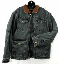 Wrangler Lined Western Jean Jacket Denim Vtg Range Coat Fleece Ranch Mens Sz XL