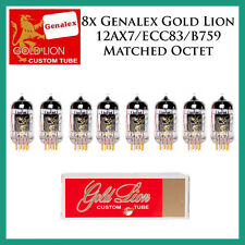 New 8x Genalex Gold Lion 12AX7 / ECC83 | Matched Octet / Eight Tubes