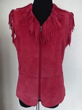 Women's Revue Sexy Boho Fringe Suede Leather Red Zipper Vest - Sz 10