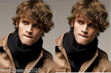 """Cos Men""""s  brown mix SHORT CURLY  cosplay full wig"""