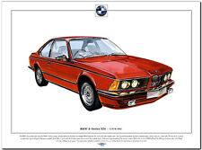 BMW 6 SERIE E24 635 Eccellente Stampa Artistica A3 taglia Tedesco berlina auto