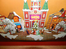 Large Christmas Village with Lights and Programmable Scrolling LED Message NEW