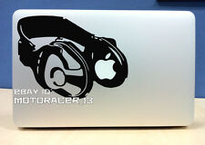 DJ headphones Macbook sticker BLACK quality vinyl decal Apple Mac Pro Air 13 15