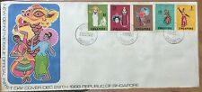 Singapore FDC - 1968 Dancers and Masks def Stamps on cover canc BT TIMAH
