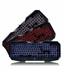 Lot of 5 - AULA 3 Color LED Illuminated Backlit USB Wired Gaming Keyboard for PC