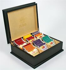 ITC Black Premier Cream Velvet 6 Comp Wooden Tea Chest Box 60 Lipton Tea Bags
