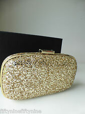 NEW AUTHENTIC ANYA HINDMARCH MARANO 11 GOLD GLITTER Clutch Bag   Boxed GIFT