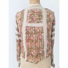 Antique Edwardian Vintage Floral Lace Blouse Top Dress Wedding Bell Sleeves