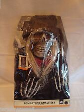 "21"" Battery Operated Halloween PIRATE Skeleton Tombstone Grave Set Light & Sound"