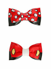 Disney Mickey & Minnie Mouse Hair Bow Set 2 Pack Cosplay Dress up Valentines Day