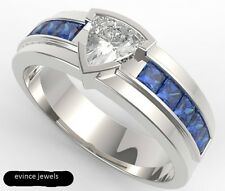 925 Sterling Silver Natural Gem Stone White Topaz & Sapphire Men's Ring Jewelry