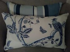 One Laura Ashley Royal Blue Summer Palace/Eaton Stripe Fabric Cushion Cover