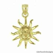 New 14k Yellow Gold Sun Pendant