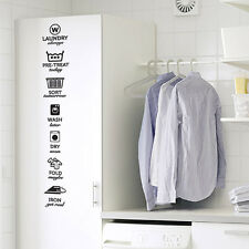 "Wash Dry Fold Iron Laundry Room Vinyl Wall Quote Sticker Decal 40""h x 6""w"