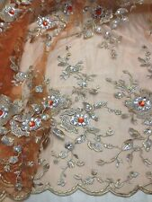 "ORANGE MESH W/GOLD SILVER FLORAL EMBROIDERY RHINESTONE LACE FABRIC 50"" WIDE 1 YD"