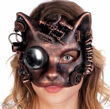 Steampunk Cat Mask Masquerade Halloween Costume Eye Face Gears Goggles Copper