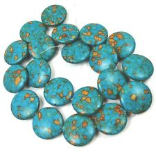 20mm Blue Mosaic Turquoise disc Coin Beads 16""