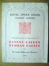 1939 Royal Opera House Covent Garden- RUSSIAN BALLET- MULTI BALLET PROGRAMME