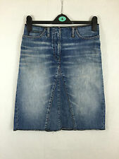 LADIES NEXT KNEE LENGTH FADED DENIM SKIRT WITH CENTRAL FAKE PLEAT SIZE 10