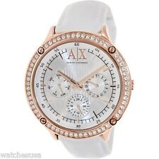 Armani Exchange Women's AX5405 White Leather Quartz Watch with Silver Dial