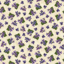 Tiny Violets Natural Arabella Beaves Floral Quilt Fabric by the 1/2 yd