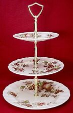 JOHNSON BROTHERS china HARVEST TIME brown multi 3-TIER SERVING TRAY dp/sp/bb