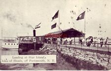 LANDING AT STAR ISLAND ISLE OF SHOALS PORTSMOUTH, NH excursion boat unloads 1910