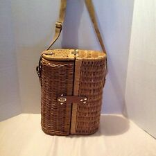 Wicker Picnic Wine Basket Insulated with Canvas Strap, Glasses & Accessories