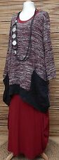 LAGENLOOK*KEKOO*COTTON MIX AMAZING A-LINE LONG TUNIC*MAROON MARL*Size 50-52-54