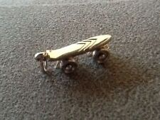 "Vintage Signed Charm 3/4"" Silver Rhodium Plated Skateboard Moving Wheels ~ MONET"