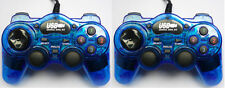 2 x Blue USB Wired Gamepad Controllers Joypad for PC & Laptop Vibration Feedback