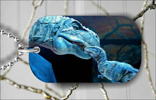 DINOSAUR T-REX MOTHER AND SON IN BLUE DOG TAG NECKLACE PENDANT FREE CHAIN -rdyn